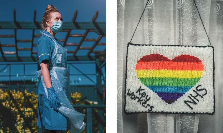 NHS worker and a thank you rainbow for key workers and NHS