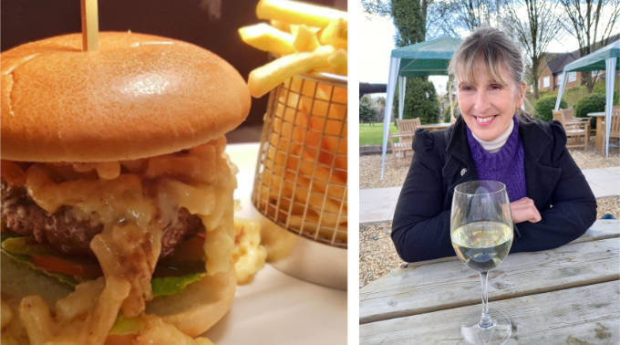 Burger & chips and enjoying a glass of wine