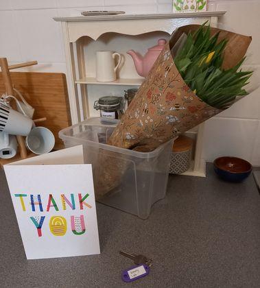 Tulips and a Thank you card